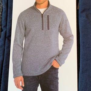 Eddie Bauer Mens Sweater Fleece Qtr Zip XL Blue